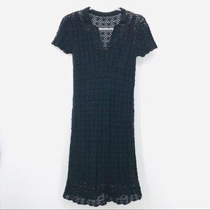 Cynthia Steffe Medium Black Crochet SSLV V Dress